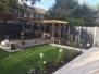 North-facing garden with sunny patio