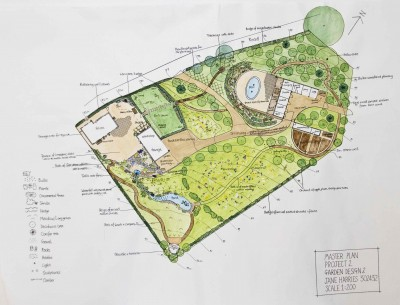 plan of large sloping country garden
